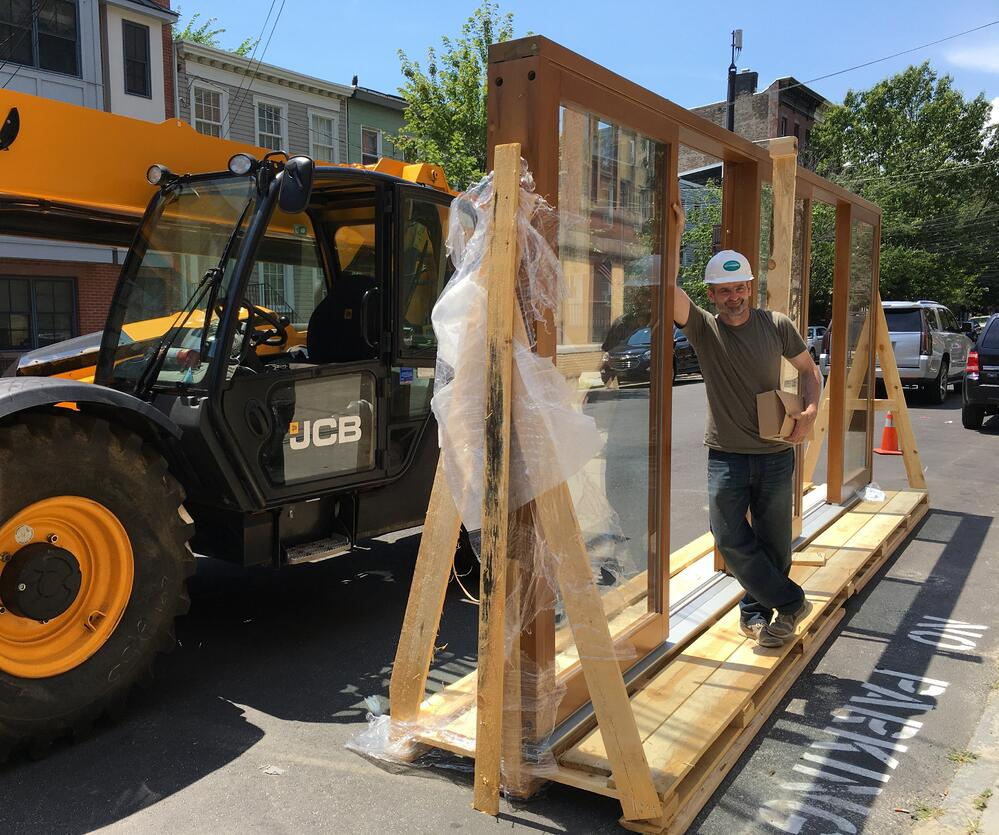 Bart on the job site with the giant slider