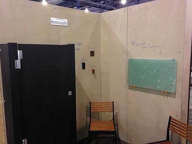 Richlite Bathroom Partitions and Recyled Glass at Greenbuild 2013